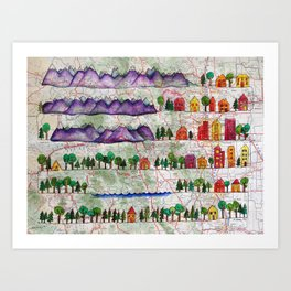 Colorado Geography Continuous Line Drawing on vintage map Art Print