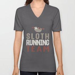 Cute Sloth Running Team Slothlike Runners Joke Unisex V-Neck