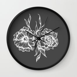 two white ink flowers Wall Clock