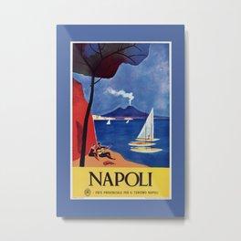 Napels Italy retro vintage travel ad Metal Print