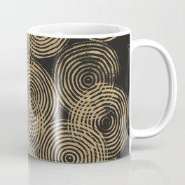 Radial Block Print in Charcoal and Gold Coffee Mug