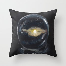 Galaxy in a glass ball, orignal art by Luna Smith, LuArt Gallery Throw Pillow
