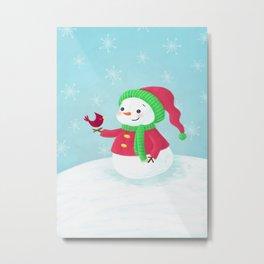 Snowman with Cardinal Metal Print