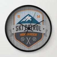 ski Wall Clocks featuring Ski Patrol by Nezz