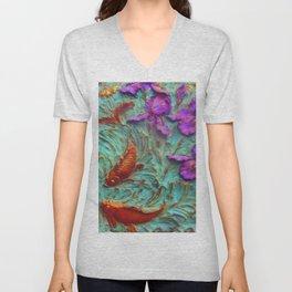 DIMENSIONAL PURPLE IRIS FLOWERS & GOLDEN KOI FISH Unisex V-Neck