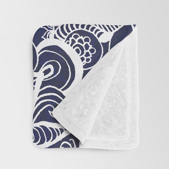 White Feather Mandala on Navy Throw Blanket
