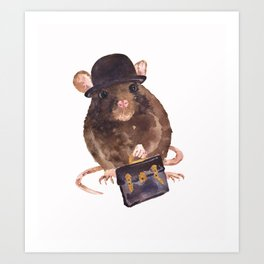 rat, journalist, office rat, rat in hat, cheeky rat, British, funny rat Art Print