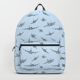 Airplanes on Light Blue Rucksack
