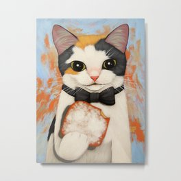 BOW TIE KITTY BEIGNET Metal Print