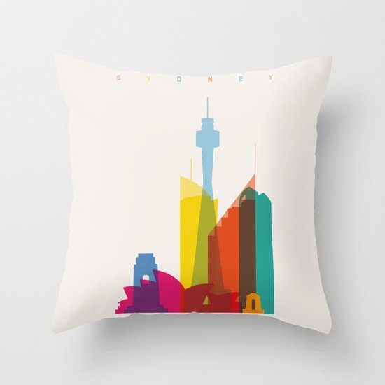Shapes of Sydney. Accurate to scale Throw Pillow