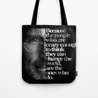 steve jobs Tote Bags featuring Jobs by Brommy