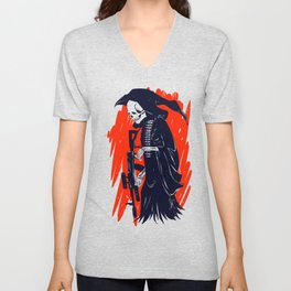 Military skeleton - grim soldier - gothic reaper Unisex V-Neck