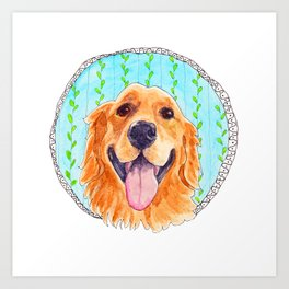 You're Never Fully Dressed without a Smile, Golden Retriever, Whimsical Watercolor Painting, White Art Print