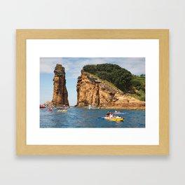 Cliff diving and kayaks Framed Art Print