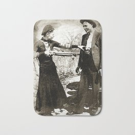 Painting Of Bonnie And Clyde Mock Hold Up Black And White Mugshot Bath Mat