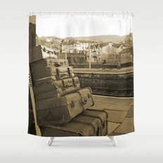 Llangollen Railway Station, Wales,  in Sepia Shower Curtain