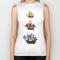 pirate ship Biker Tanks featuring Pirate Ship Convoy by Scottdoesart