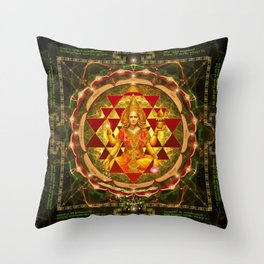 Shri Yantra- Maha Lakshmi Ashtakam- Abundance Throw Pillow