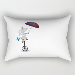 Mouse on unicycle Rectangular Pillow