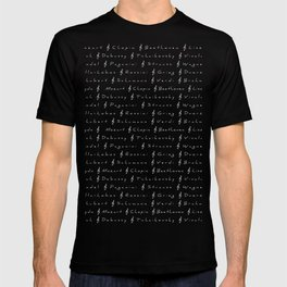 Classical Music Composers, pattern, black bg T-shirt
