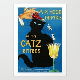 Mix Your Drinks with Catz (Cats) Bitters Aperitif Liquor Vintage Advertising Poster Art Print