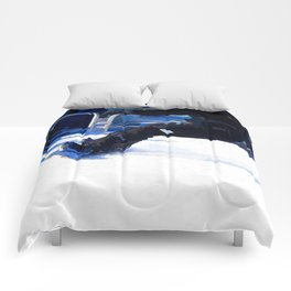 Snowboarder Skidding Winter Sports Gift Comforters
