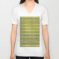 yellow pattern V-neck T-shirts featuring Yellow fractal pattern. by Assiyam