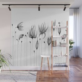 Flowers Black and White Wall Mural