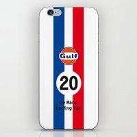 steve mcqueen iPhone & iPod Skins featuring Steve McQueen - Le Mans - Racing Car by Vintage Deco Print Posters