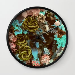 Retro Victorian Floral Collage Print Wall Clock