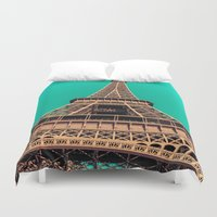 eiffel tower Duvet Covers featuring Eiffel Tower by A/B Photography