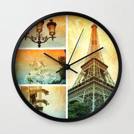 Drama of Paris Collage Wall Clock