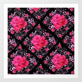 FUCHSIA PINK ROSE BLACK BROCADE GARDEN ART Art Print