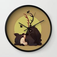 will graham Wall Clocks featuring Will Graham & Nightmare Stag by Sutexii