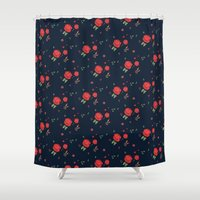 western Shower Curtains featuring Classic western rose pattern  by Picomodi