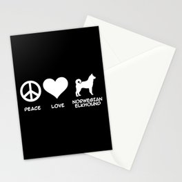 Peace, Love, Norwegian Elkhound Stationery Cards