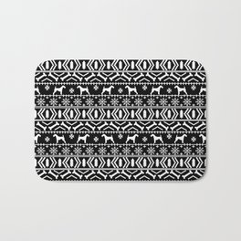 Airedale terrier fair isle silhouette christmas sweater black and white holiday dog gifts Bath Mat