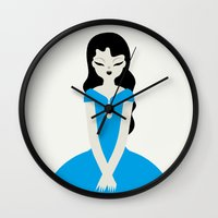 dress Wall Clocks featuring Blue dress by Marco Recuero