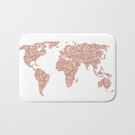 Rose Gold Glitter World Map Bath Mat