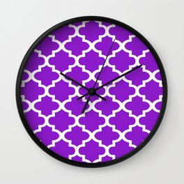Arabesque Architecture Pattern In Purple Wall Clock