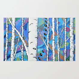Sunset Sherbert Birch Forest by Mike Kraus - aspen trees forest woods nature surreal trippy colors Rug