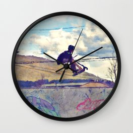 Graffitti Glide Stunt Scooter Sports Artwork Wall Clock