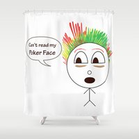 poker Shower Curtains featuring  Poker face by smartphone_cases