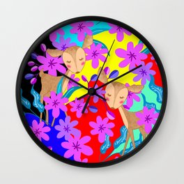Cute wild sweet little baby deer fawns lost in the forest of delicate pink flowers colorful design Wall Clock