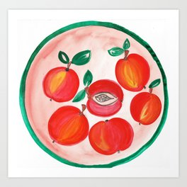 A plate of Red Apples Art Print