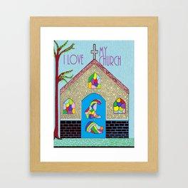 ASL I Love my Church Framed Art Print