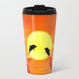 dolphin sunset jump Travel Mug