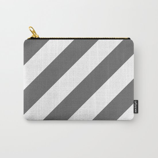 Gray diagonal striped pattern Carry-All Pouch