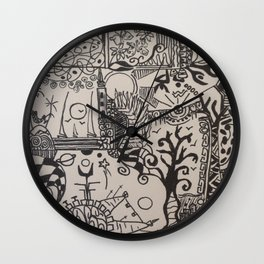 black and doodle 3 Wall Clock
