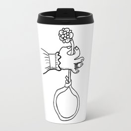 one hand that holds the flower Travel Mug